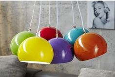 PERLES COLORÉ- pendant lamp 6 colourful ball shades by Neofurn