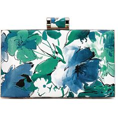 Yoins Floral Wash Painting Leather-look Box Clutch Bag in Blue and... ($27) ❤ liked on Polyvore featuring bags, handbags, clutches, purses, accessories, blue, faux leather handbags, floral handbags, blue clutches and chain purse