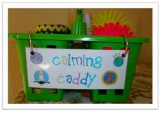 A calming caddy for an elementary classroom. It is filled with different sensory objects to help students calm down when getting frustrated. She includes things such as stress balls, calming glitter jar, play dough and notebook and crayons. Classroom Setting, Future Classroom, Classroom Behavior Management, Behaviour Management, School Counselor, Kindergarten Classroom, Classroom Organization, Classroom Ideas, Classroom Routines