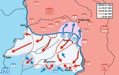 Carte des opérations offensives soviétiques depuis l'arrêt de la progression allemande lors de l'opération citadelle, au sud du saillant, jusqu'à la fin du mois d'aout 1943... Front sud Les soviétiques encerclent Belgorod et continuent d'avancer vers le sud ouest, se dirigeant sur Kharkov. Belgorod est évacué dans la nuit par sa garnison allemande et libérée par l'armée rouge.