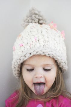 Bulky knitted hat, the pattern is Purl Bee's Fun Kid's Hat.  Could make this in an hour.  Cute