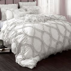 grey and white ruffled bedding
