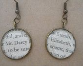Pride and Prejudice book page earrings, jane austen earrings, Mr Darcy and Elizabeth, vintage book page jewellery, romantic gift, upcycled