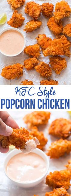 These KFC style spicy popcorn chicken bites taste just like the real thing and disappear in minutes! Easy, crunchy and perfectly spiced. chicken recipes dinners,cooking and recipes Spicy Popcorn Chicken Recipe, Pop Corn Chicken, Kfc Popcorn Chicken Recipe, Spicy Fried Chicken, Popcorn Recipes, Thai Chicken, Chicken Bites, Chicken Nuggets, Chicken Snacks