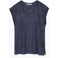 Zara Fringed Sleeve Faux Suede T-Shirt (14 CAD) ❤ liked on Polyvore featuring tops, t-shirts, shirts, t shirts, dark navy, sleeve shirt, navy blue tops, zara shirts and fringe top