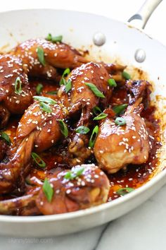 These skinless chicken drumsticks sweet and sticky, and so delicious! Cooked in a skillet with honey, soy sauce, garlic and ginger until the chicken is tender and the sauce thickens. You won't miss th