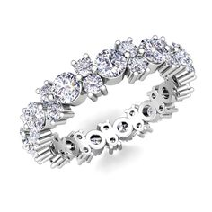 Garland Diamond Eternity Ring in Platinum 1.70 cttw. This garland diamond wedding ring showcases two rows of round brilliant diamonds in alternating sizes and set in platinum for an intricate and beautiful eternity band!