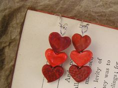 Red heart earrings. Tiny Valentine Heart by TheAmethystDragonfly, $16.50