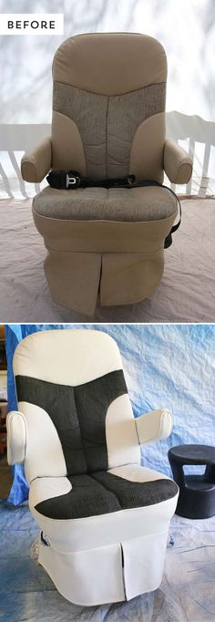 Rv Captain Chair Seat Covers Folding Low Beach Overdrive Cover Our Painted S Chairs