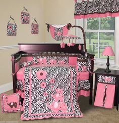 Sweet And Feminine Baby Girls Bedding Sets : Admirable Zebra Pattern and Elephant Print Baby Girls Bedding Set Inspiration in Beige Wall Gir...