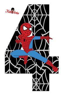 Spiderman Birthday Cake, Spiderman Theme, Superhero Birthday Party, 4th Birthday, Spider Man Party, Fête Spider Man, Birthday Numbers, Party Props, Kids Cards
