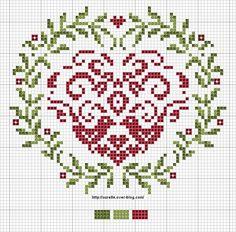 Folk art heart cross stitch chart