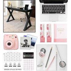 ORGANIZED DESK by dianakhuzatyan on Polyvore featuring interior, interiors, interior design, home, home decor, interior decorating, Christopher Knight Home, Thrive, Kikkerland and Fujifilm
