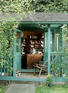 Home Office Shed... now there's an idea! I saw a cute house for sale with about a 10' square slab in the backyard, leftover from a portable shed I guess... how fun it would be to build a litte sewing/quilting studio onto it!