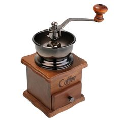Coffee Tools Retro Style Manual Hand-crank  Coffee Grinder Golden tone, Cast Iron Burr Core Kitchen Product  BS