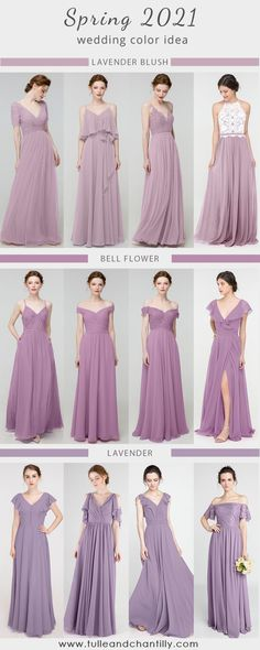 2021 wedding color ideas with purple shades mismatched bridesmaid dresses for spring wedding Mismatched Bridesmaid Dresses, Designer Bridesmaid Dresses, Bridesmaid Dresses Online, Wedding Dresses, Spring Wedding, Dream Wedding, Wedding Day, Bridesmaid Separates, Wedding Colors