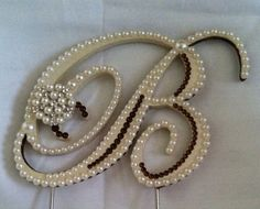 Pearl Cake Topper Monogram Wedding Cake by ShellCoastalDesigns, $55.00