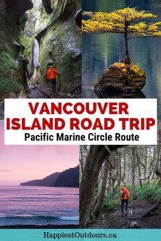 The Pacific Marine Circle Route is a road trip on Southern Vancouve Island. Along the way you can walk on beaches, hike through the rainforest, visit waterfalls, see Canada's largest trees, and camp by the ocean. Alberta Canada, Quebec, Cool Places To Visit, Places To Travel, Toronto, Canadian Travel, Canadian Rockies, Vancouver Island, Visit Vancouver
