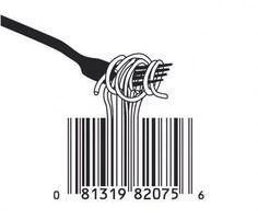 Food Art spaghetti & bar code