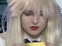 Cute Siouxsie wearing a blonde wig and dressed up like a little girl for Play At Home in she's my Alice in Wonderland. Siouxsie Sioux, Siouxsie & The Banshees, Punk Goth, 80s Goth, Wall Of Sound, Dream Pop, Blonde Wig, Alternative Music, Post Punk