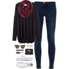 cold day, dark clothes