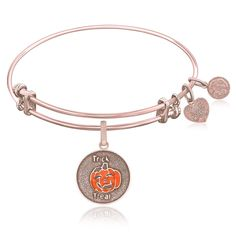 Expandable Bangle in Pink Tone Brass with Trick Or Treat Pumpkin Symbol