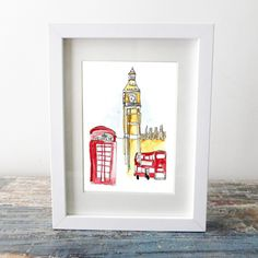 Big Ben and red buses art print
