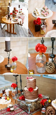 winter table decor - love the cake display, the use of color. Simple, rustic and thoughtful