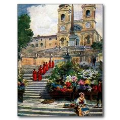 Vintage Rome watercolor Trinita dei Monti Postcards