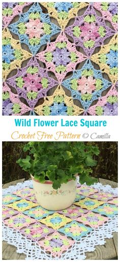 projects for the home Wild Flower Lace Square Crochet Free Pattern - Crochet & Knitting Free Crochet Square, Crochet Flower Squares, Crochet Squares Afghan, Baby Afghan Crochet, Granny Square Crochet Pattern, Crochet Bedspread Pattern, Crochet Motif Patterns, Crochet Quotes, Crochet Video