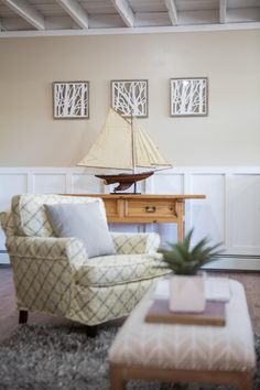 As seen on Vacation House for Free, host Matt Blashaw used a mix of neutral tones and patterns throughout the living room of this lakefront home in Oakland, Main e - Liked @ www.homescapes-sd.com #staging San Diego home stager (760) 224-5025 #vacationhouseforfree #vacationhouse #HGTV