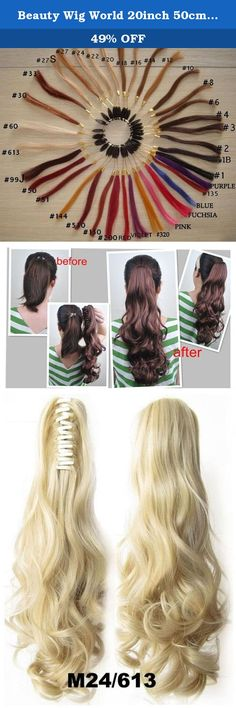 Beauty Wig World 20inch 50cm 100g Long Wave Curly 16 Colors Ponytail Hair Extensions Synthetic Hairpiece Clip Ponytails - #24/613 Natural blonde/bleach blonde. Wig can play a role in modifying the appearance, changing hairstyles simple and convenient, save time; avoid perm, hair, pull hair to hair damage caused; you save you do hair in the salon, hair dyeing costs, reduce expenses; wig hair style can easily avoid hairstyles often go to the barber shop to do harm to the hair; you can try a...