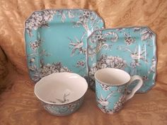 Toile Kitchen Accessories | ... Fifth Adelaide Turquoise Aqua French Toile ... | Kitchen/ Dining