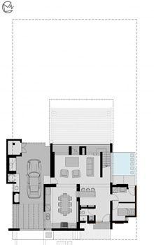 La Casa AMD de fachada moderna con formas planas de hormig�n visto y madera