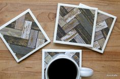 Coasters for Drinks Coasters Tile Handmade Coasters Table Coasters, Ceramic Coasters, Drink Coasters, Chevron Home Decor, Grey Home Decor, How To Distress Wood, Coaster Set, Gifts For Friends, House Warming