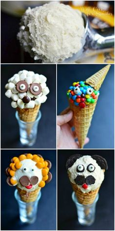 Fun Ice Cream Cone Creations! from willcookforsmiles.com   #icecream #kidfood #funfood