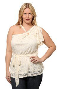 Torrid Plus Size Ivory Lace Flutter One-Shoulder Top Curvy Plus Size, Plus Size Women, Curvy Girl Fashion, Plus Size Fashion, Beautiful Outfits, Cute Outfits, Plus Size Stores, Skinny Girls, One Shoulder Tops