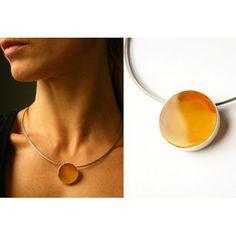 FREE Shipping Amber Pendant, Silver 925, Yellow, Orange, round,  amberstone  NEW, UNIQUE von JewellryWithSoul auf Etsy