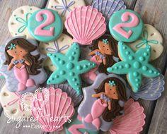 Mermaid Cookies Pink and Aqua - 1 Dozen