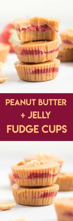 Peanut Butter   Jelly Fudge Cups. Rich creamy peanut butter and strawberry chia seed jam layer in these melt in your mouth treats. #peanutbutter #fudge #peanutbutterfudge #peanutbutterandjelly #chiaseeds #chiajam #strawberryjam #dessert #sweetreat #nobake