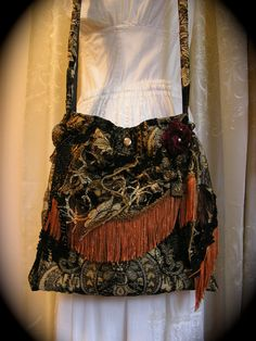 Gypsy Carpet Bag black fringed bohemian tapestry by GrandmaDede, $120.00