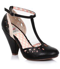 1920s fun heel shoes! Elsie Vintage T-Strap Pumps $82.00 AT vintagedancer.com