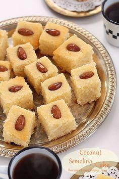 Semolina Coconut Cake – a trEATs affair Coconut Semolina Cake Recipe at Roxanashomebaking… Sweet Recipes, Cake Recipes, Dessert Recipes, Shawarma, Middle Eastern Desserts, Semolina Cake, Dessert Sans Gluten, Indian Sweets, Arabic Food