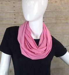 Pink Jersey Infinity Scarf Wrap Shawl Ascot Sash by DeZeStar