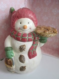 Vintage Bico Christmas Cookie Jar - Snowgirl with Cookies - Porcelain