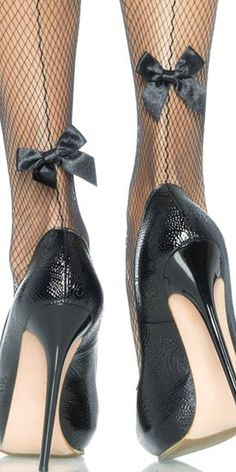 Satin Bow Fishnet Pantyhose