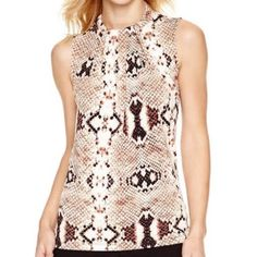 Blouse Worthington drape-Neck blouse  size L , brand new with tag , cute phyton pattern, sleeveless, short zipper on back ,, for all occasions, Also very light and comfortable to wear☺️, color black, brown. Copper , cram, 95% polyester, 5% spandex Worthington Tops