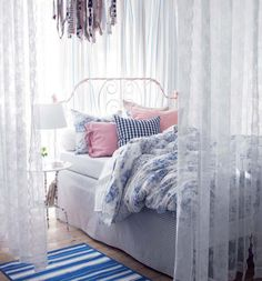 Ikea Teenage Girl Bedroom Ideas 19 45 Ikea Bedrooms that Turn This Into Your Favorite Room the House 2 Lace Bedroom, Feminine Bedroom, Cozy Bedroom, Bedroom Decor, Bedroom Furniture, Bedroom Inspo, Bedroom Bed, White Bedroom, Bedroom Linens