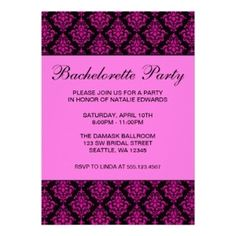 Pink and Black Damask Bachelorette Party