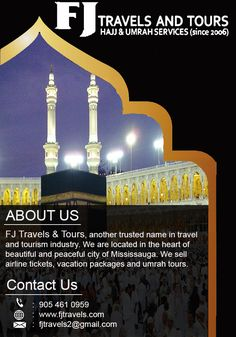 FJ Travels & Tours is providing best Hajj and Umrah Packages at very reasonable cost. You can reach them for best Hajj and Umrah package with flights. Trip Packages, Vacation Packages, Travel Tours, Travel And Tourism, Tourism Industry, Airline Tickets, Life Changing, Montreal, Vancouver